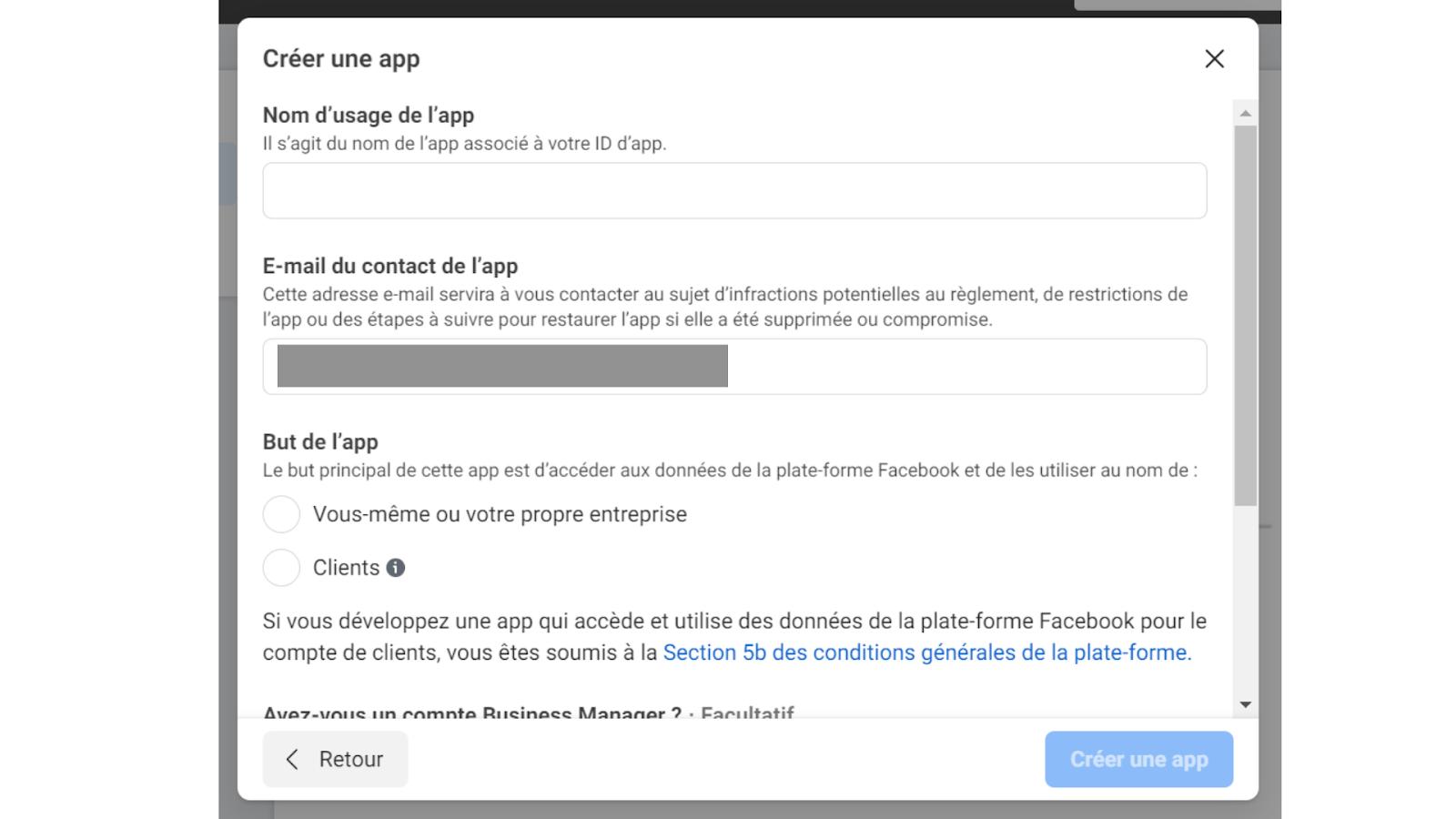 configuration app facebook