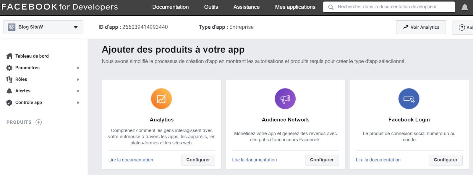 produits app facebook