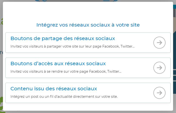 module reseaux sociaux sitew