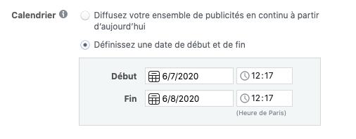 Calendrier Facebook