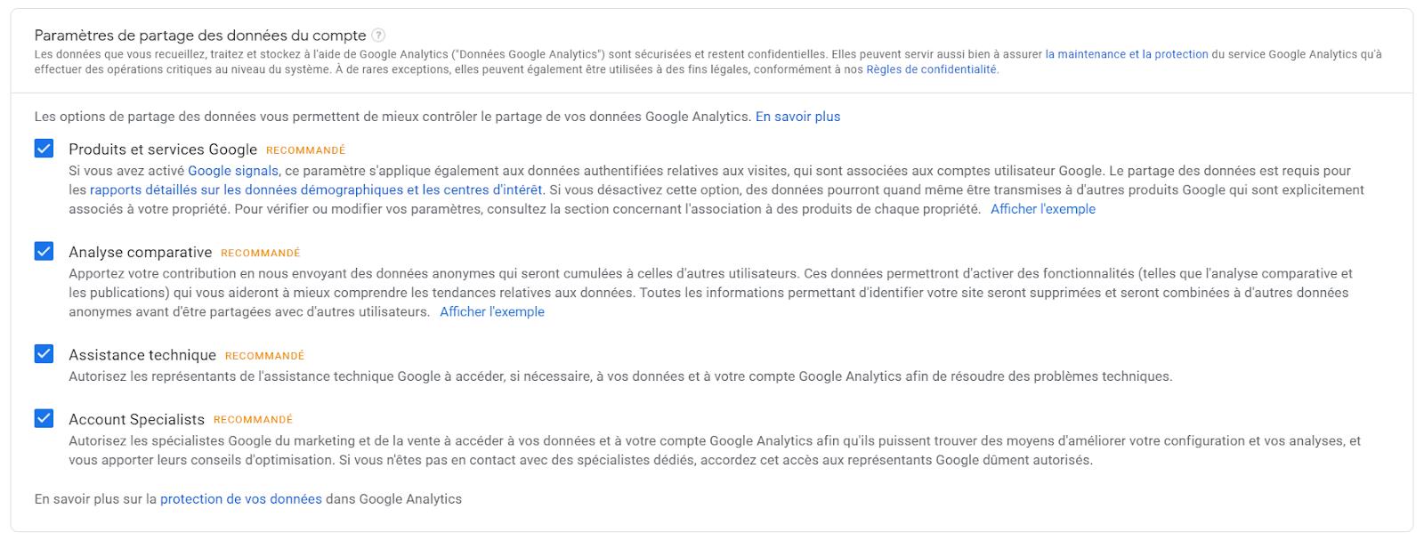 parametres google analytics