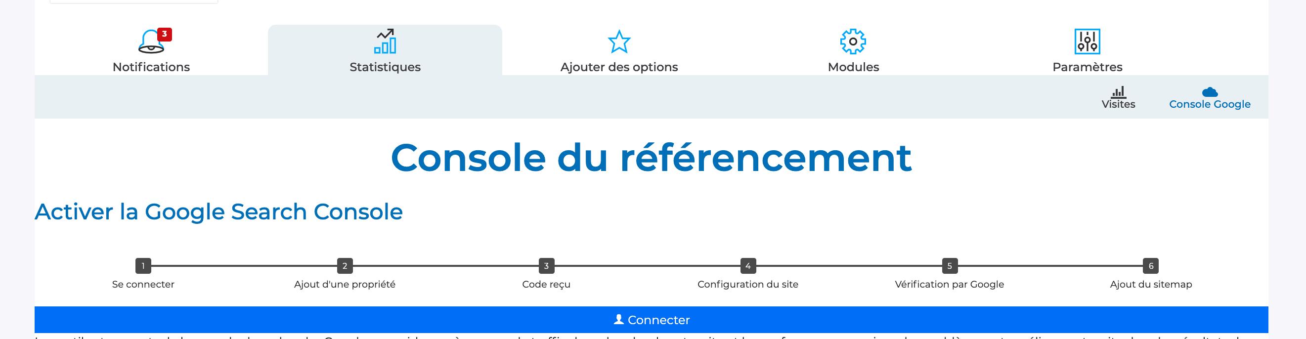 configurer gsc sur sitew