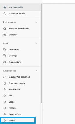 videos google search console