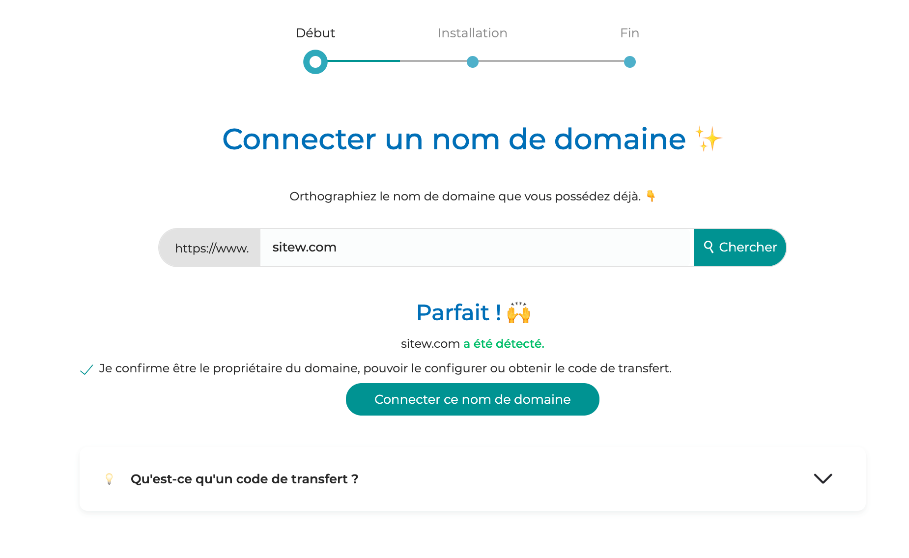connecter un nom de domaine