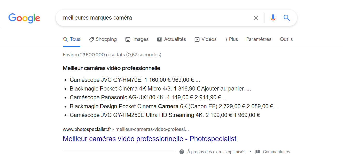 featured snippet exemple