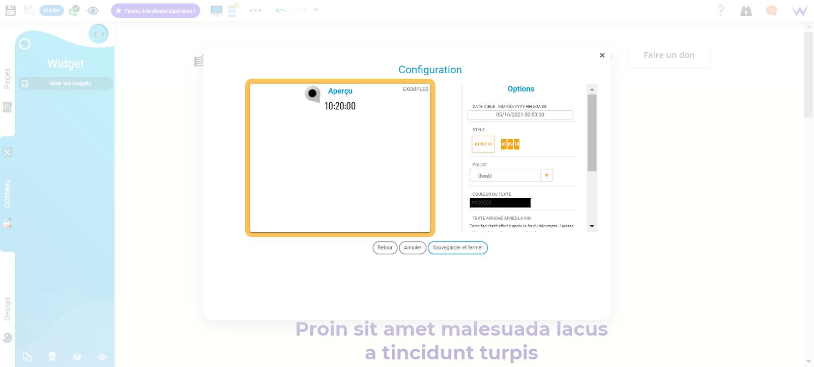 Module widget pour créer site musique