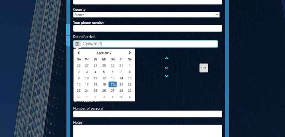 Kalender, Zeitauswahl, benutzerdefinierte Formulare