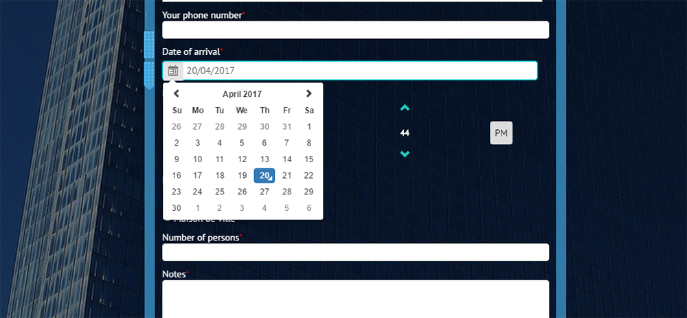 calendar, time selector custom form