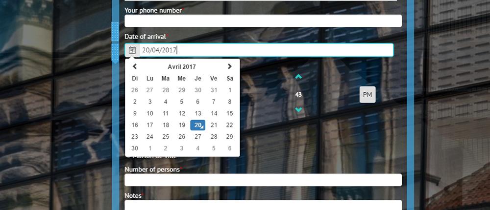 Calendrier, gadget sélectionneur d'heure, formulaire personnalisé