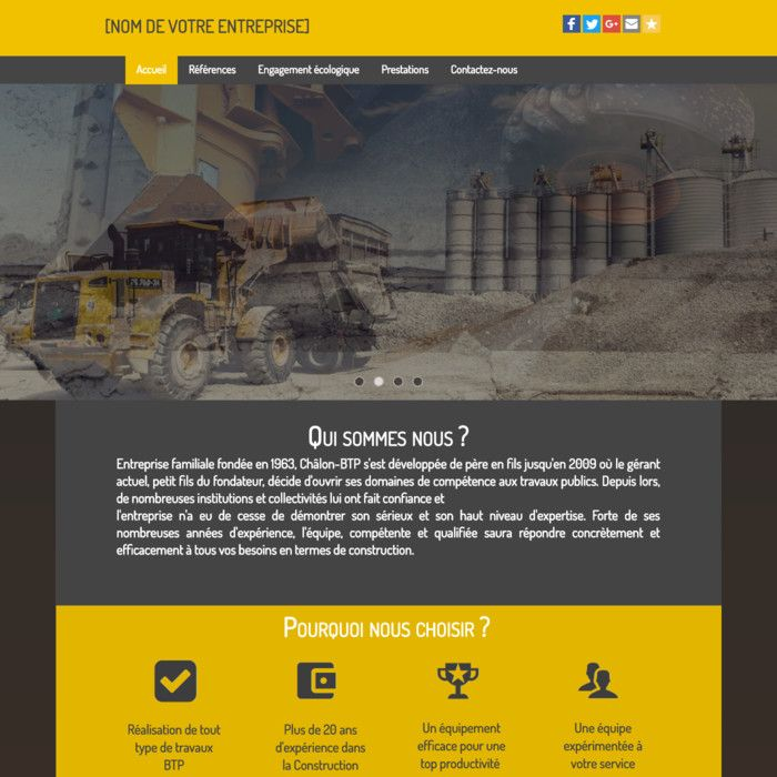 Template for website creation of BTP