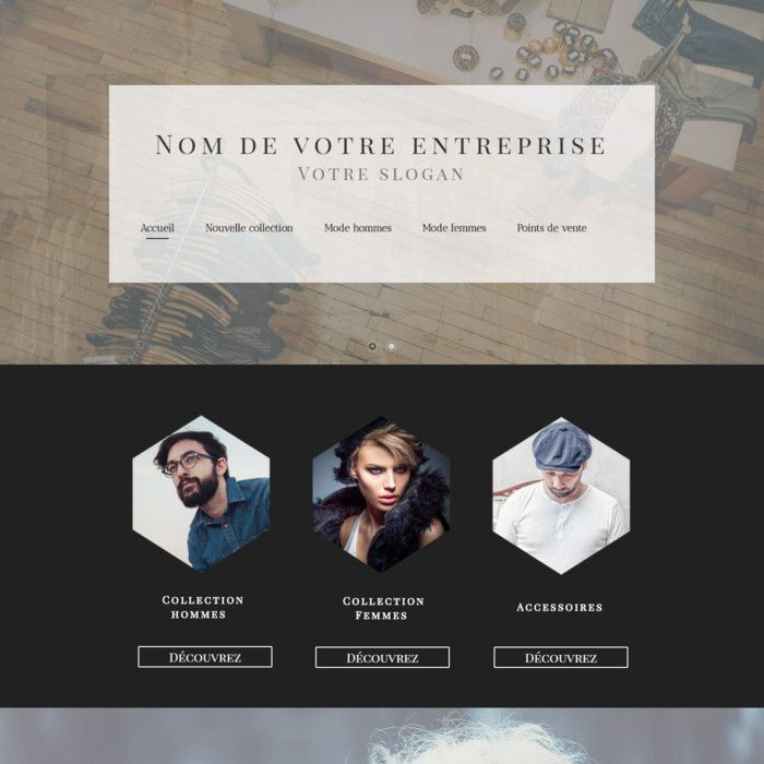 Template for website creation of Vente de vêtements