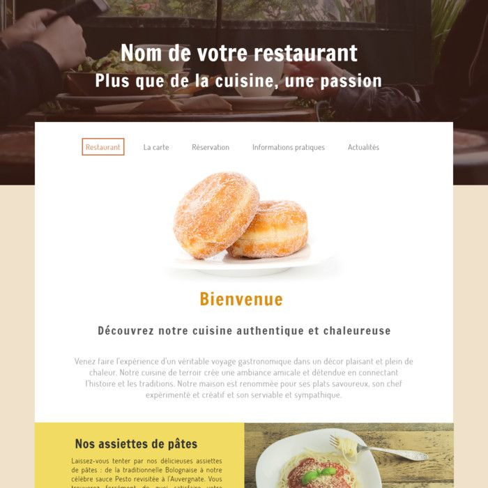 Template for website creation of Restaurant