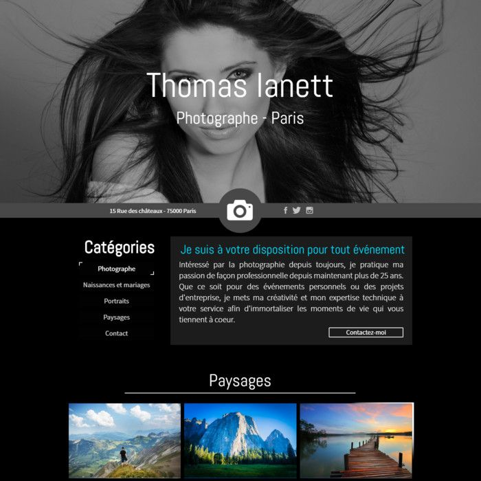 Template for website creation of Photographe