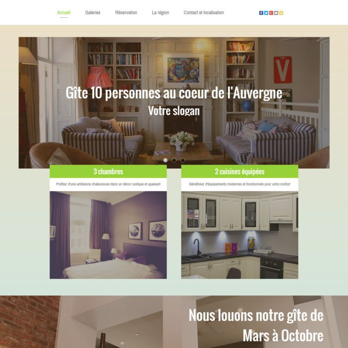 Template for website creation of Gîtes / Hotels