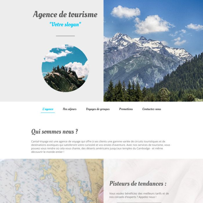 Template for website creation of Agence de Voyages