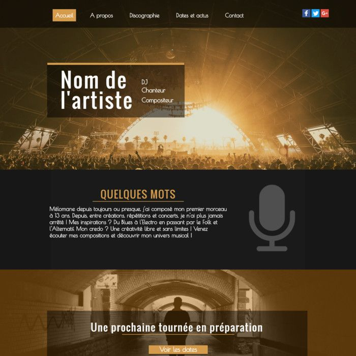 Template for website creation of Musique