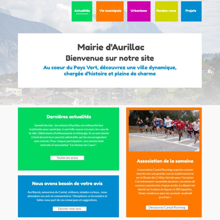 Template for website creation of Mairie