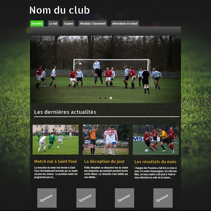 Template for website creation of Sport (Football)