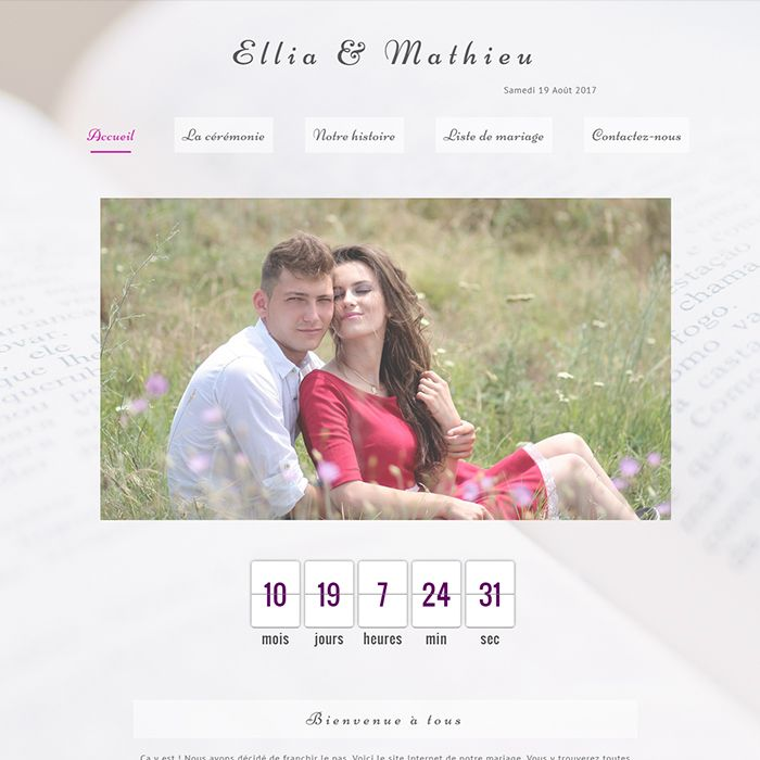 Template for website creation of Mariage