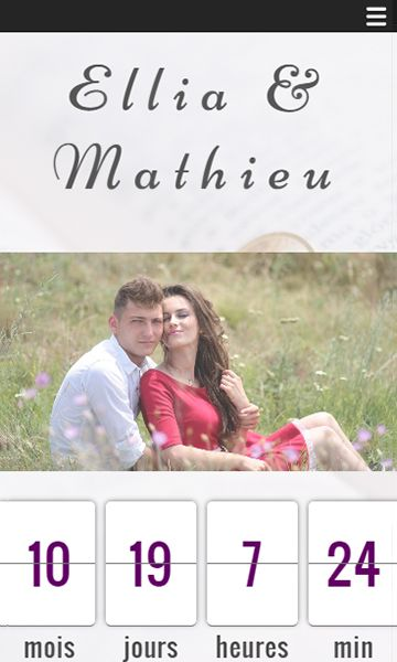 Mobile template for easy website creation of Mariage