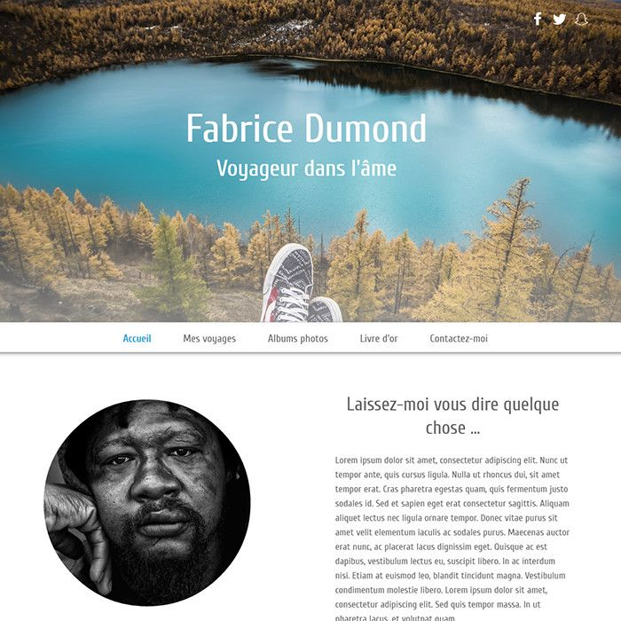 Template for website creation of Carnet de voyage