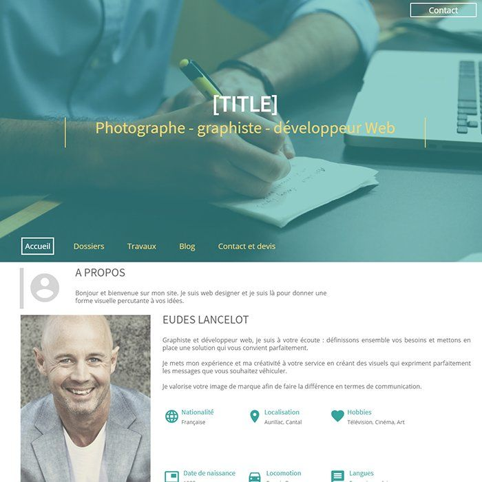 Template for website creation of Cv & Portfolio
