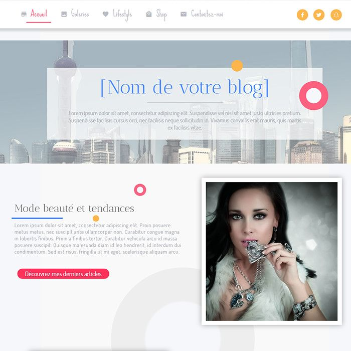 Template for website creation of Modèle Blog