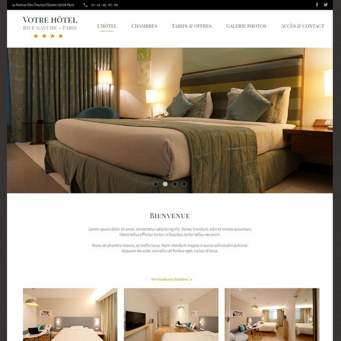 Template for website creation of Hotel