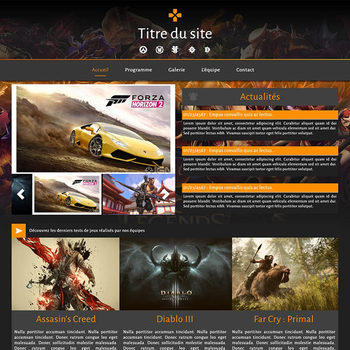 Template for website creation of Vidéo games
