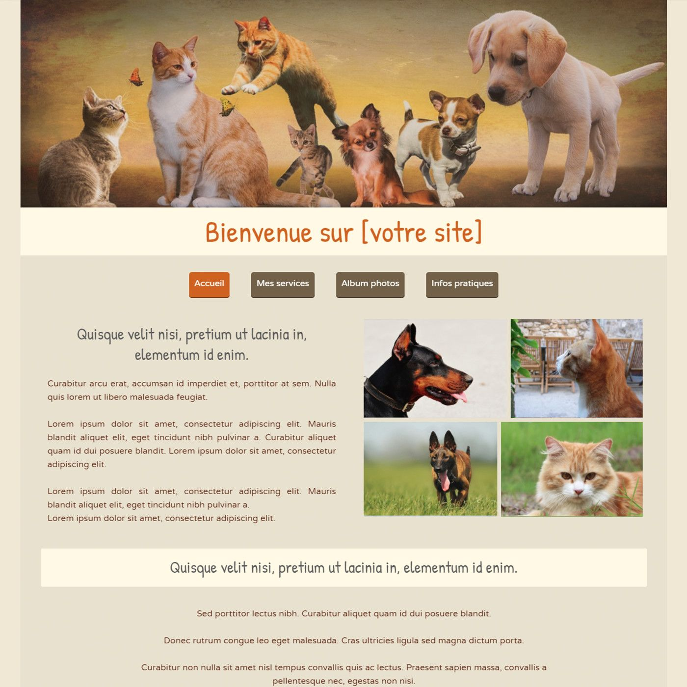 Template for website creation of animaux