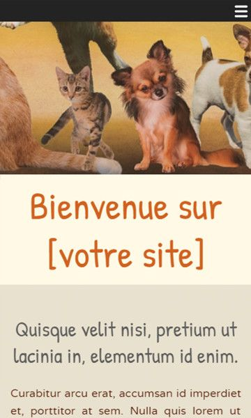 Mobile template for easy website creation of animaux