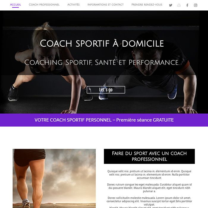 Template for website creation of Coach sportif