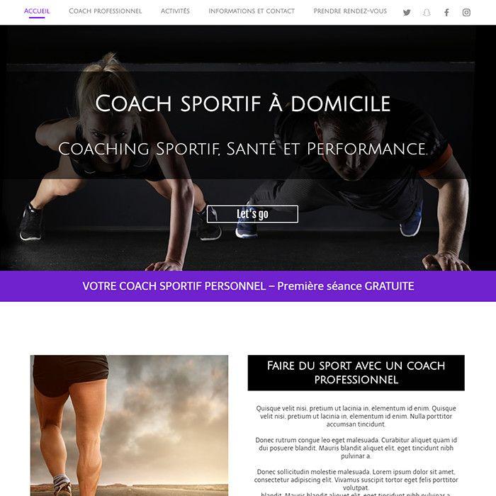 Vorlage für die Erstellung von Websites über Coach sportif