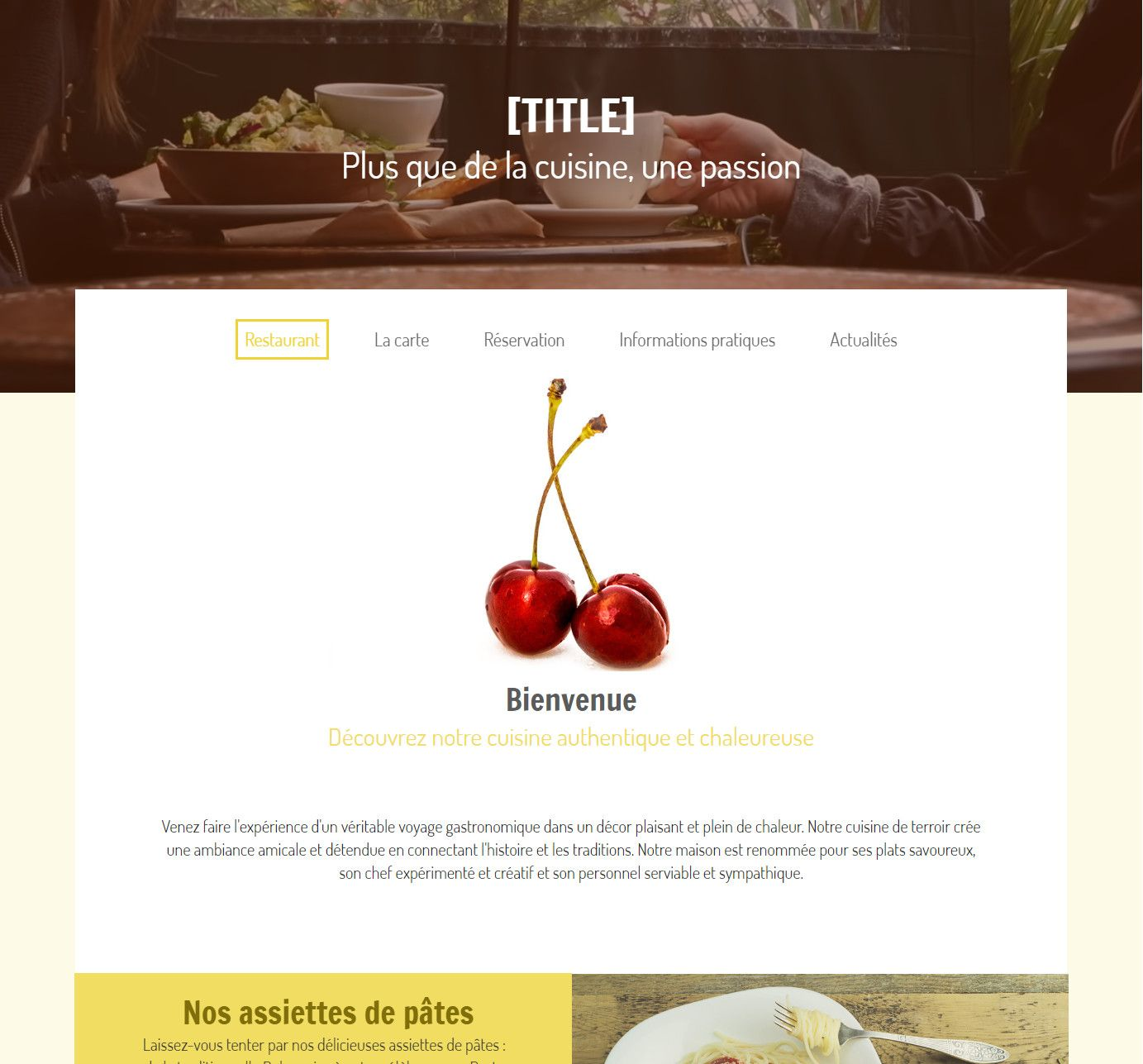 Theme for website creation of Restaurant