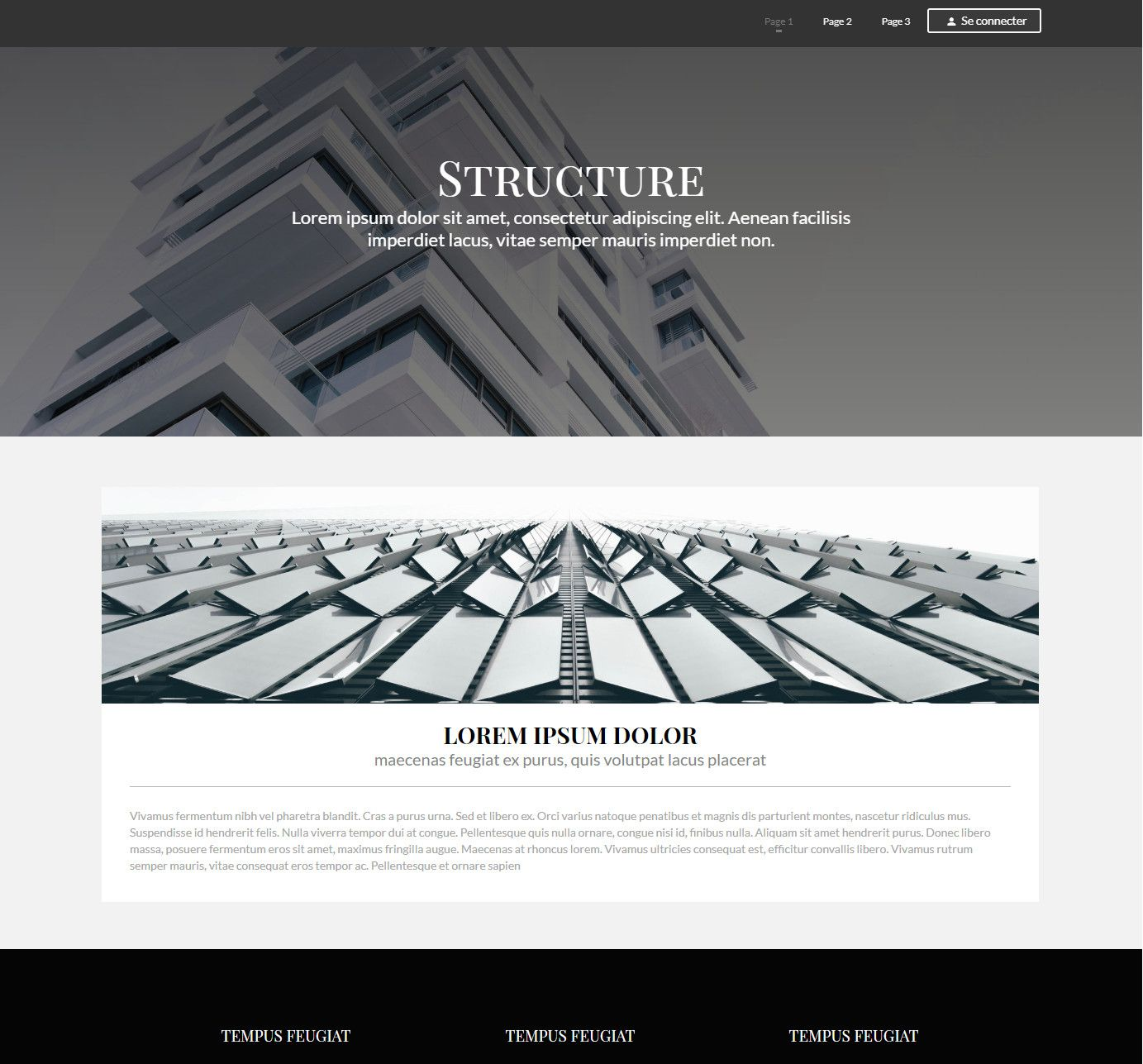 Theme for website creation of Structure