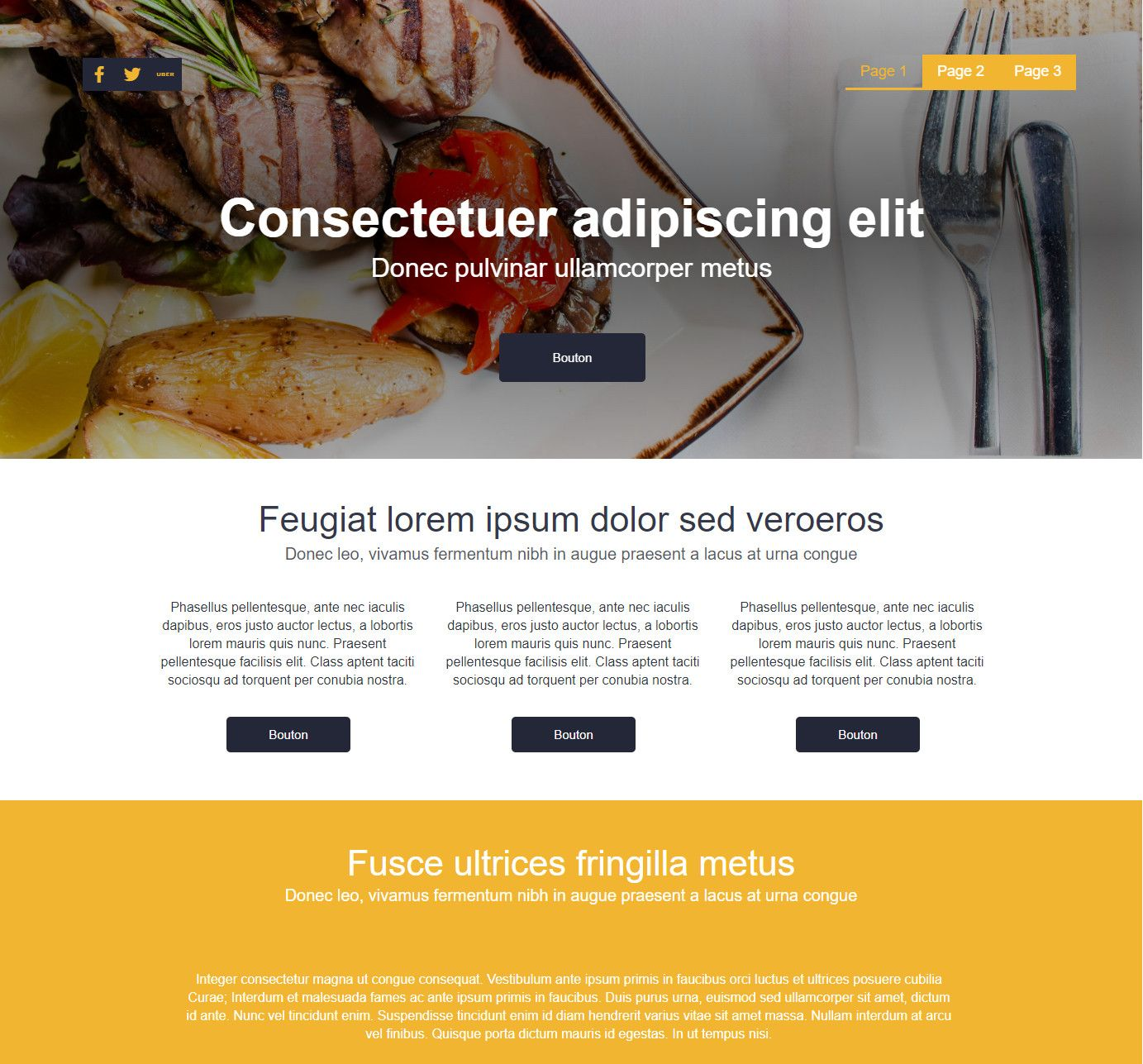 Theme for website creation of Food