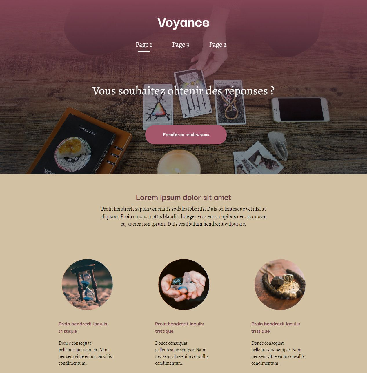 Theme for website creation of Voyance