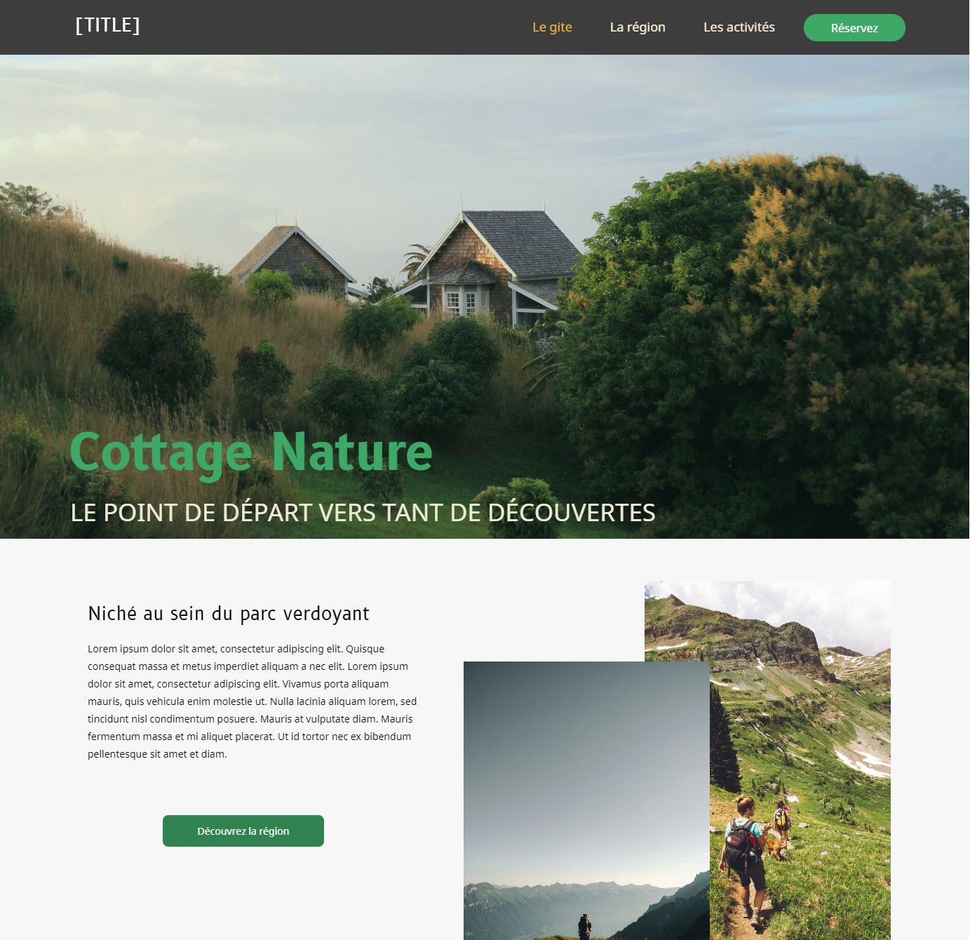 Theme for website creation of Cottage