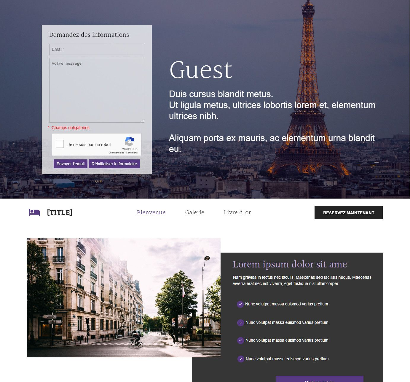 Theme for website creation of Guest
