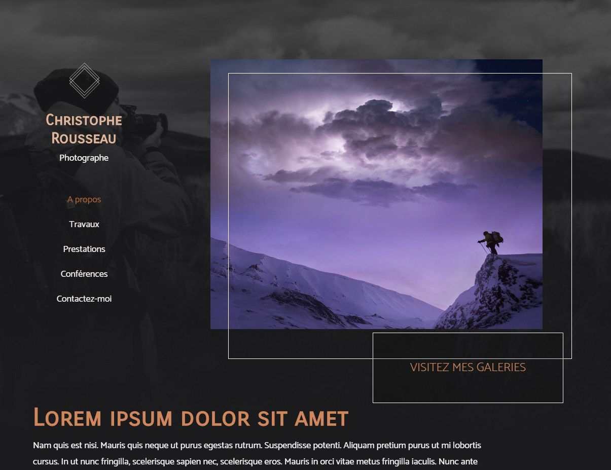Theme for website creation of Photographe