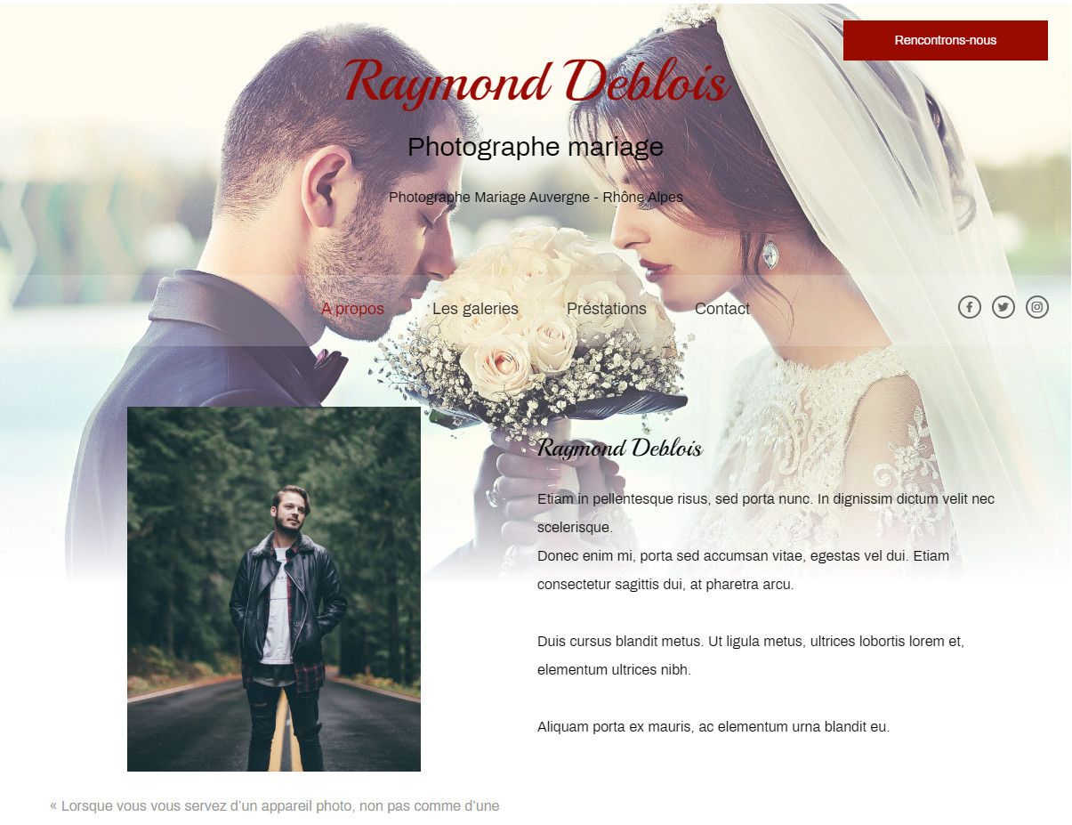 Theme for website creation of Photographe mariage