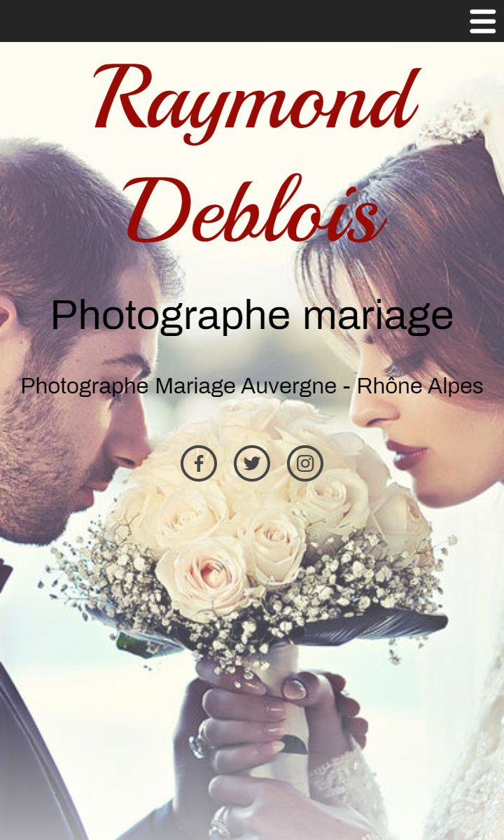 Mobile theme for easy website creation of Photographe mariage