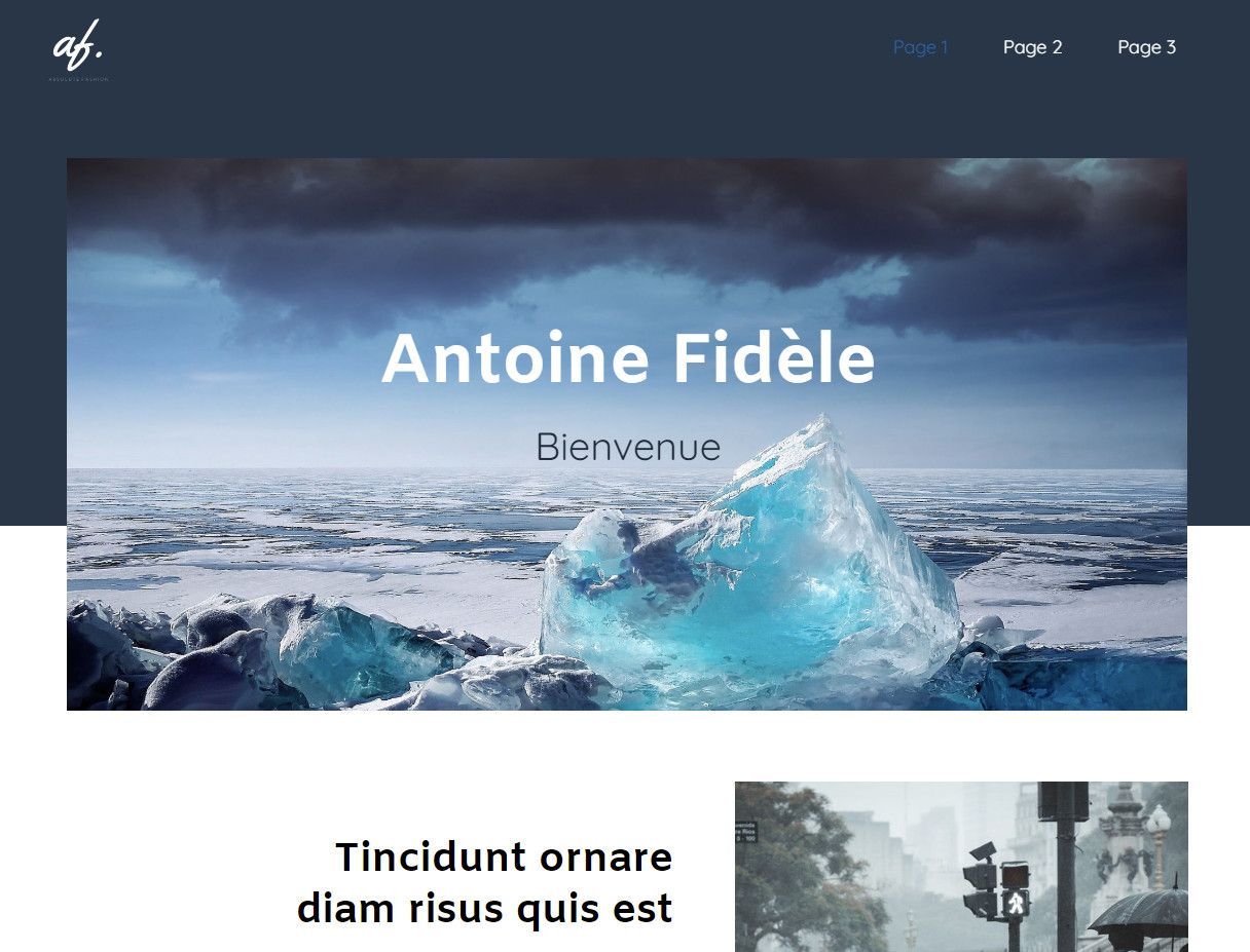 Theme for website creation of Photographe 2