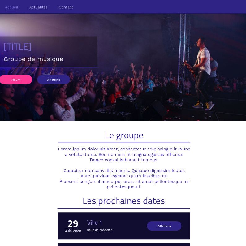 Theme for website creation of Musique