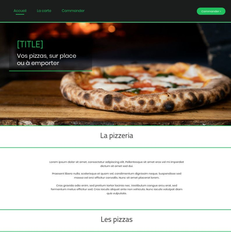 Theme for website creation of Pizza