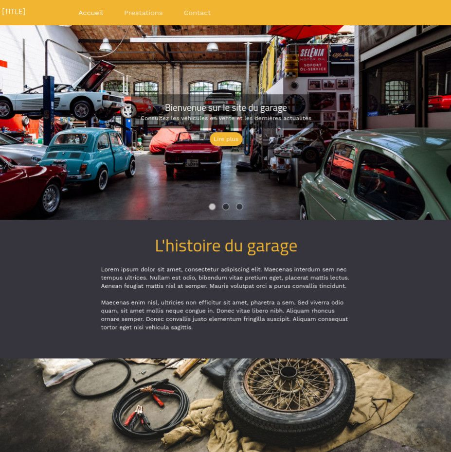 Theme for website creation of Garage