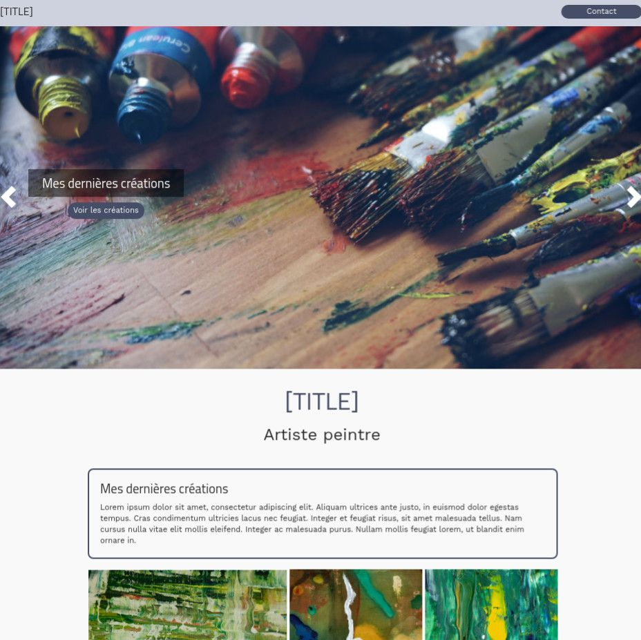 Theme for website creation of Peintre