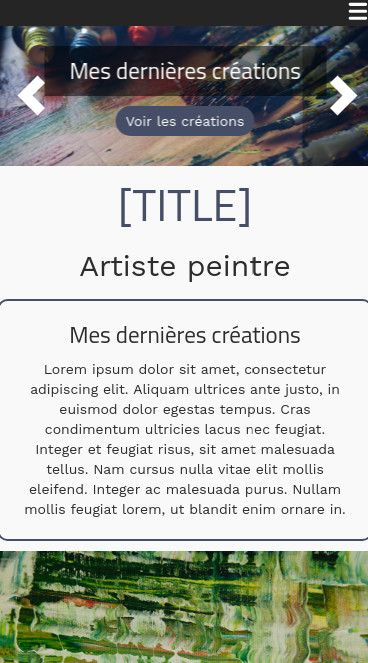 Mobile theme for easy website creation of Peintre