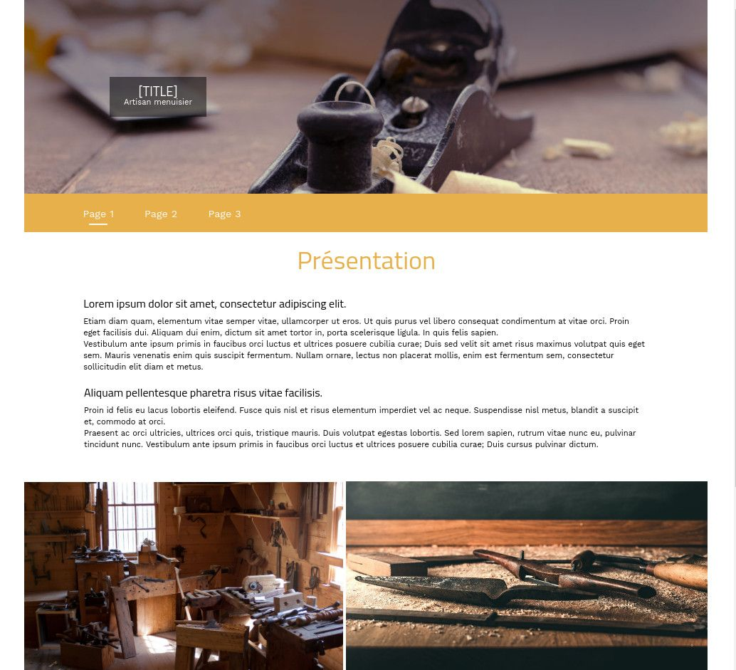 Theme for website creation of Menuisier