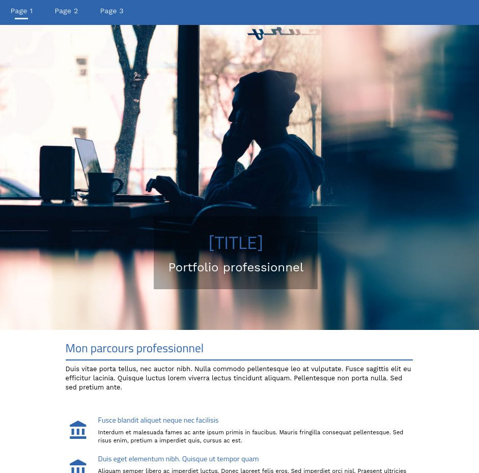 Theme for website creation of Portfolio